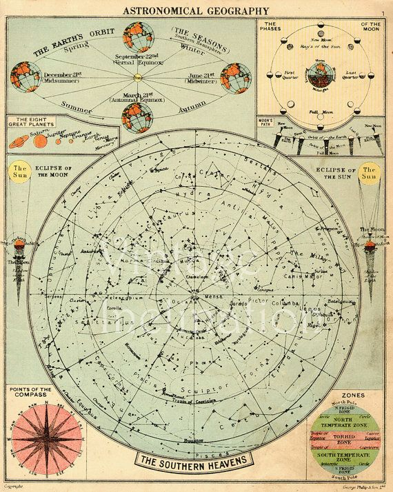 Apr 7 2013 | Astronomy STAR MAP, 1950, Constellations, star chart, star map, astronomical star stars constellation astrology space bookplate print