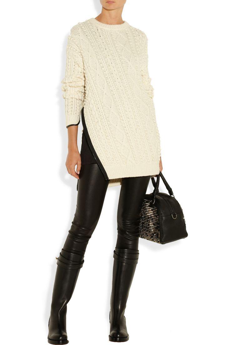 3.1 Phillip Lim | Faux leather-trimmed cable-knit sweater | NET-A-PORTER.COM