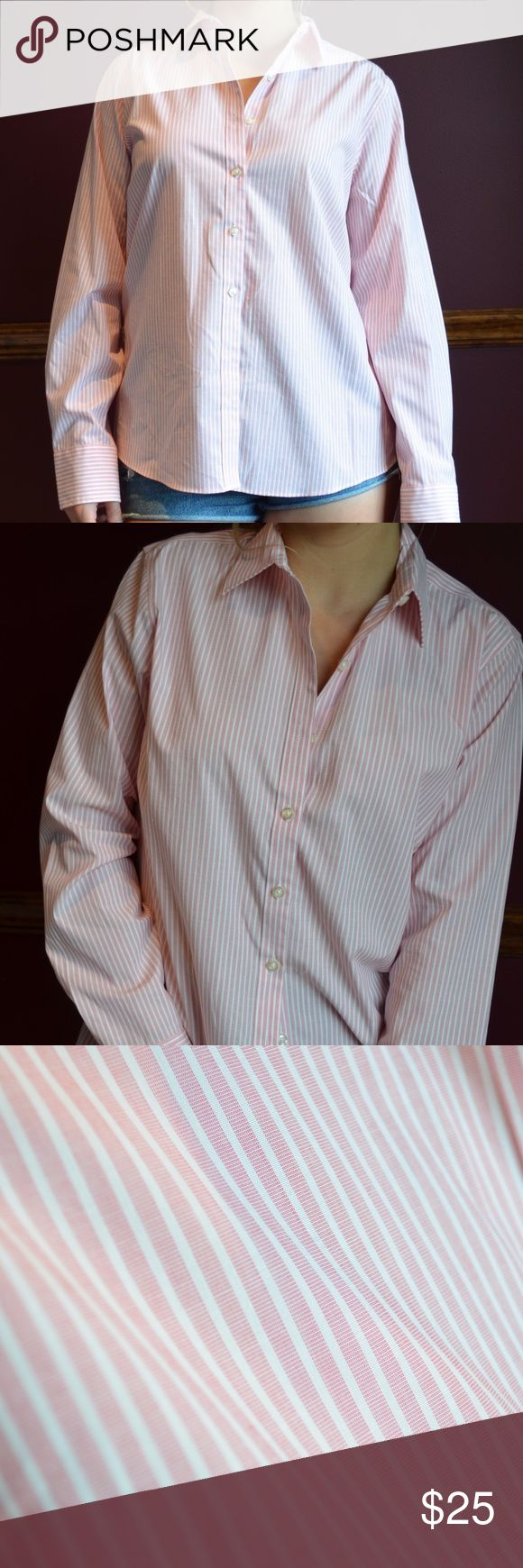 Land's End Women's Button Down Women's Button Down; 96% cotton, 4% spandex; Light pink with thin white, vertical stripes Land's End Tops Button Down Shirts