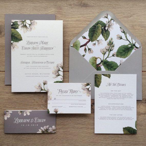 Superior ALMOND   Rustic Wedding Invitations, Botanical Wedding Invites, Floral  Wedding Invite Grey And Kraft