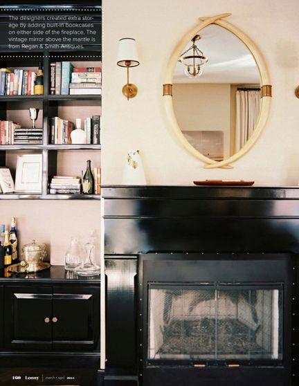 Horn Mirror: Horns Mirror, Glossy Black, Living Rooms Design, Design Interiors, Pitch Black, Interiors Design, Fireplaces Surroundings, Black Fireplaces, Black Shelves