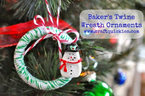 Make a cute Christmas wreath ornament using shower rings, baker's twine, and resins. Fun!