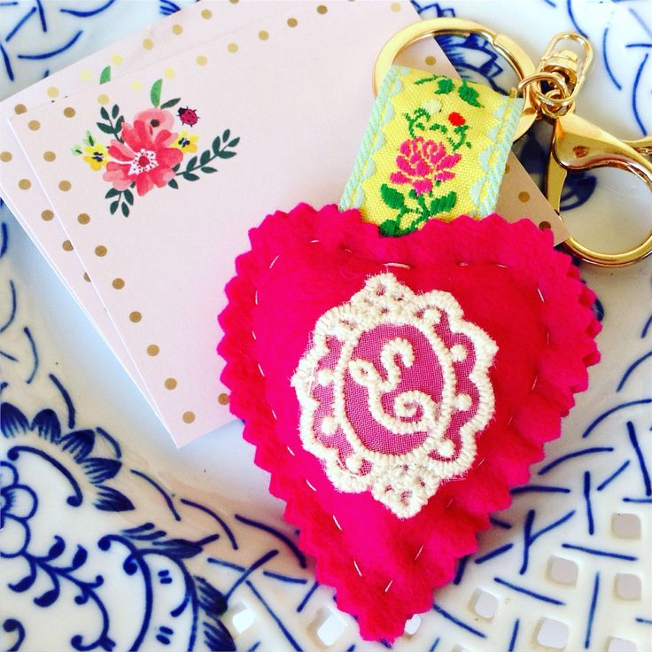Keychain❣Personalized gift 💛🍃🌺 wool felt, gold, lace, personalized gift, handmade, made in Greece, heart, love, gift, custom made, lace, monogram, etsy, etsy shop, etsy gifts, etsy finds, Hellas, pink, floral, yellow, retro, vintage, the little decor shop, my little decor shop, egst