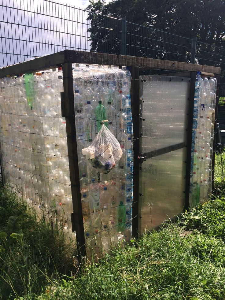 Recycled plastic bottle greenhouse.