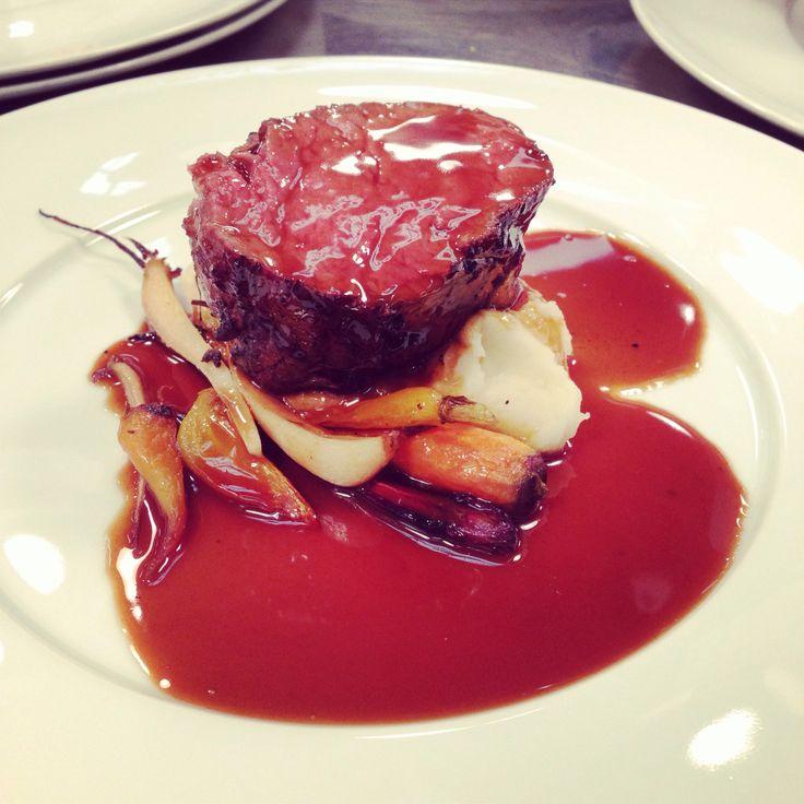 Roasted Beef Tenderloin, potato purée, roasted baby vegetables, bordelaise
