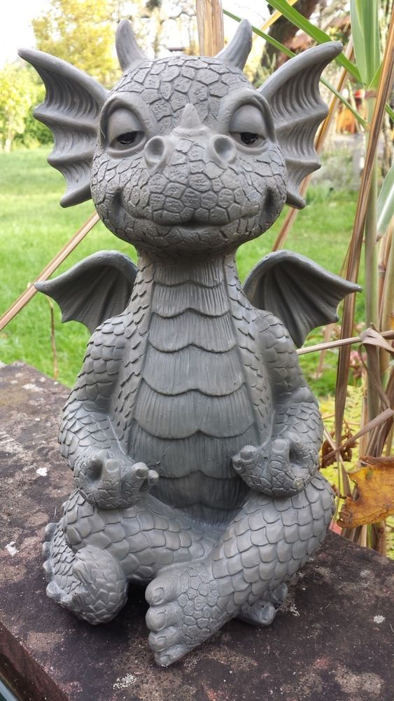 Gartendrache Meditiert Yoga Gartenfigur Garten Drache Drachen Dragon