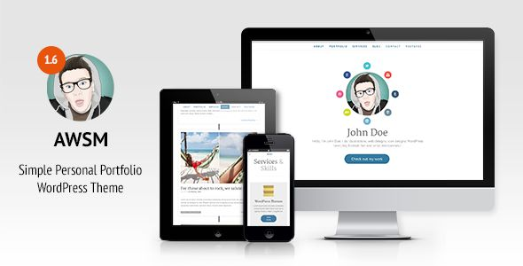 AWSM - Simple Personal Portfolio WordPress Theme   http://themeforest.net/item/awsm-simple-personal-portfolio-wordpress-theme/4641441?ref=damiamio       AWSM is clean and simple full featured one page or optionally non one page WordPress theme, perfect for creative people, freelancers or agencies. Demonstrate your work, projects and skills, offer your services, highlight stories from your career and write something nice on your blog.  Present yourself to the world in an appealing and…