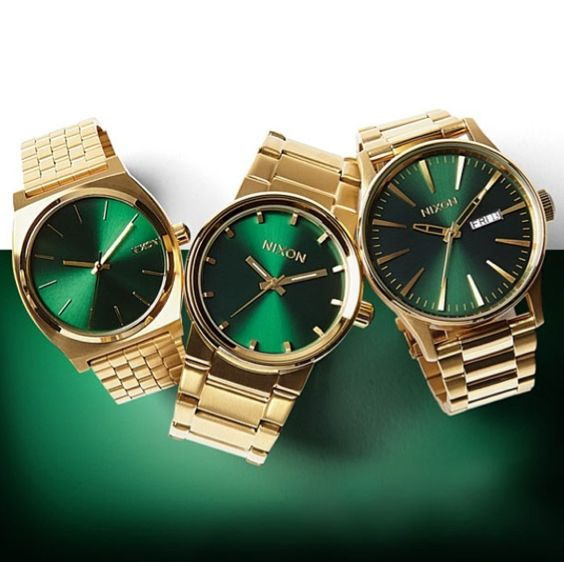 Nixon gold green sunray collection zumiez exclusive what time is it pinterest green for Watches zumiez