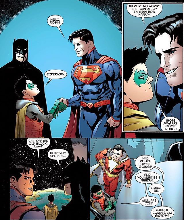 Damian Wayne meeting Superman & Shazam! - Comic - Batman and Robin #39 Artwork by Patrick Gleason, Mick Gray, & John Kalisz Written by Peter Tomasi