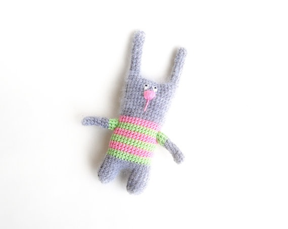 Crochet Bunny toy Grey Striped bunny for kids gift by RomeoShop, $35.00