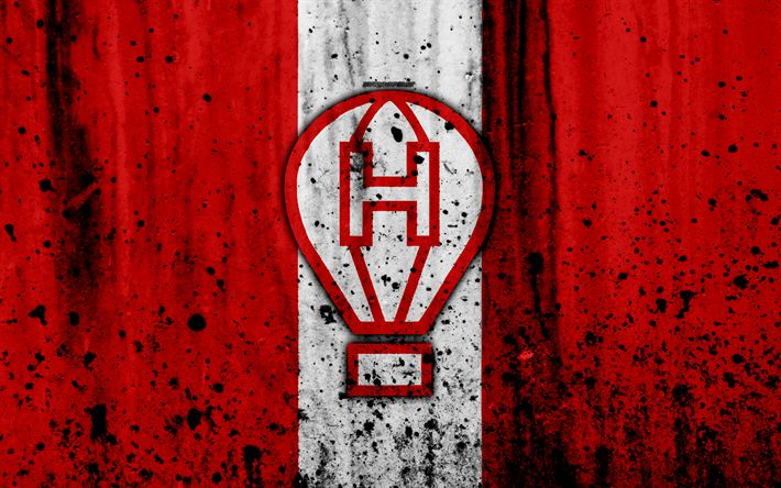 Download wallpapers 4k, FC Huracan, grunge, Superliga, soccer, Argentina, logo, Huracan, football club, stone texture, Huracan FC