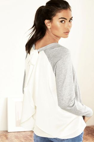 Buy Grey Ruffle Back Layer Top online today at Next: United States of America