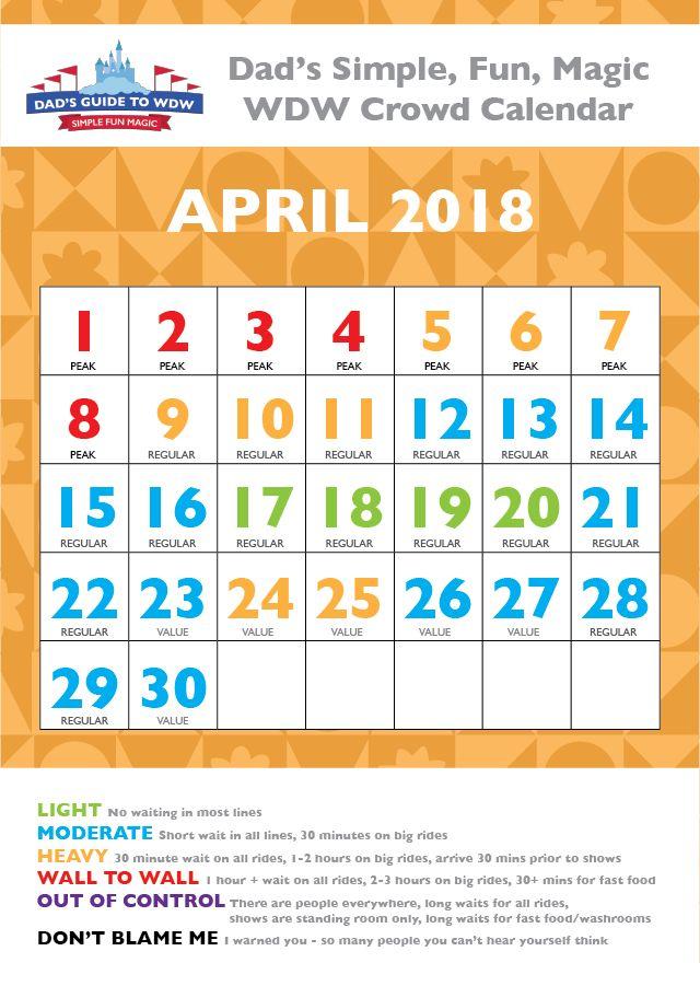 April 2018 Disney World Crowd Calendar
