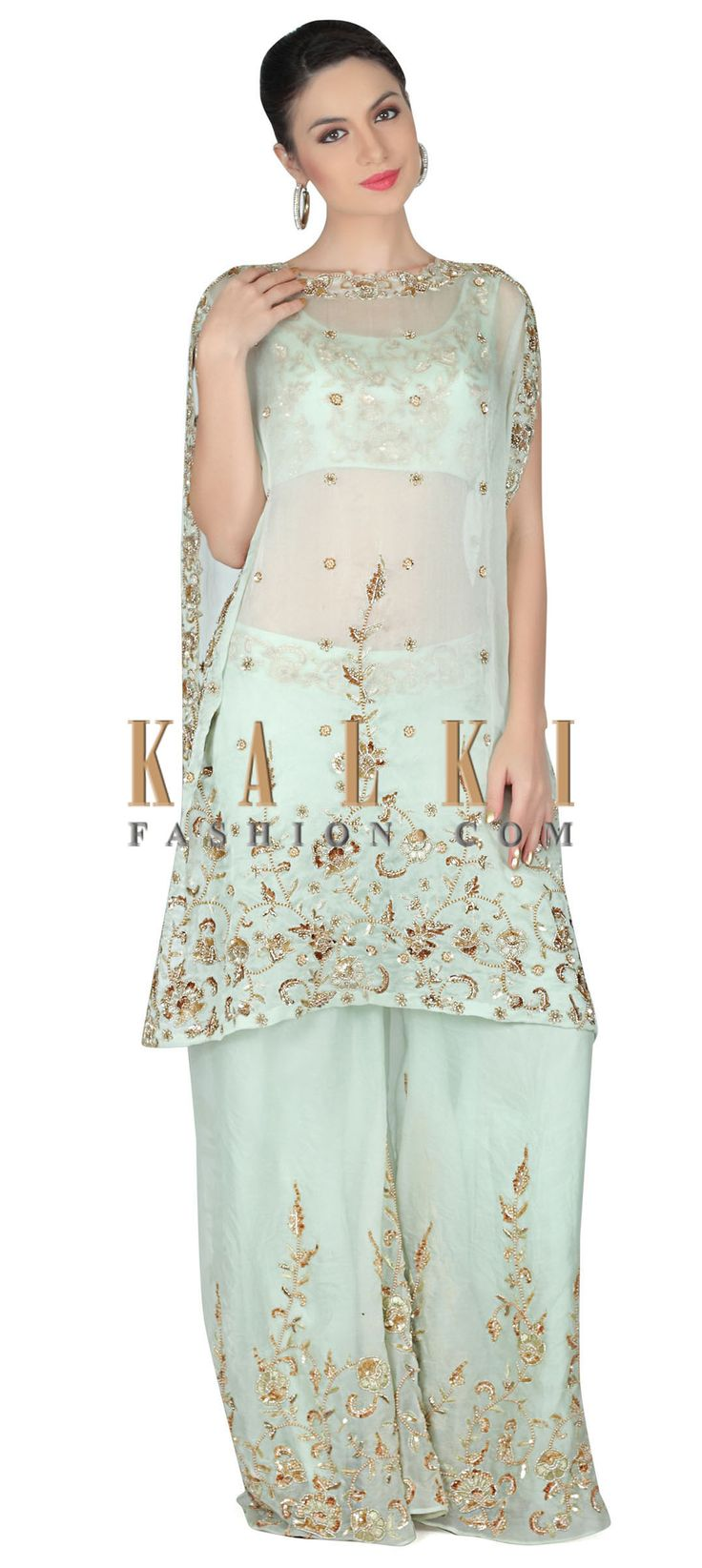 Buy this Mint green suit with embroidered crop top and cape only on Kalki