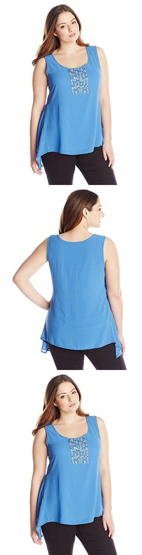 Modamix Women's Plus-Size Embellished Shark Bite Tank Top, Cornflower, 22/24