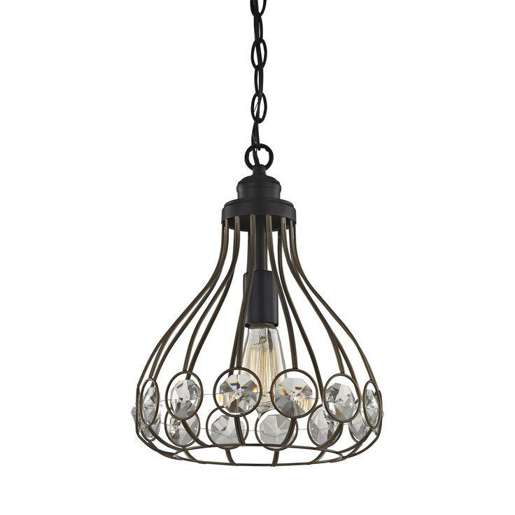 Elk Crystal Web 1 Light Penant In Bronze Gold And Matte Black With Clear Crystal - Includes Recessed Lighting Kit Pendant item number 81105/1-LA
