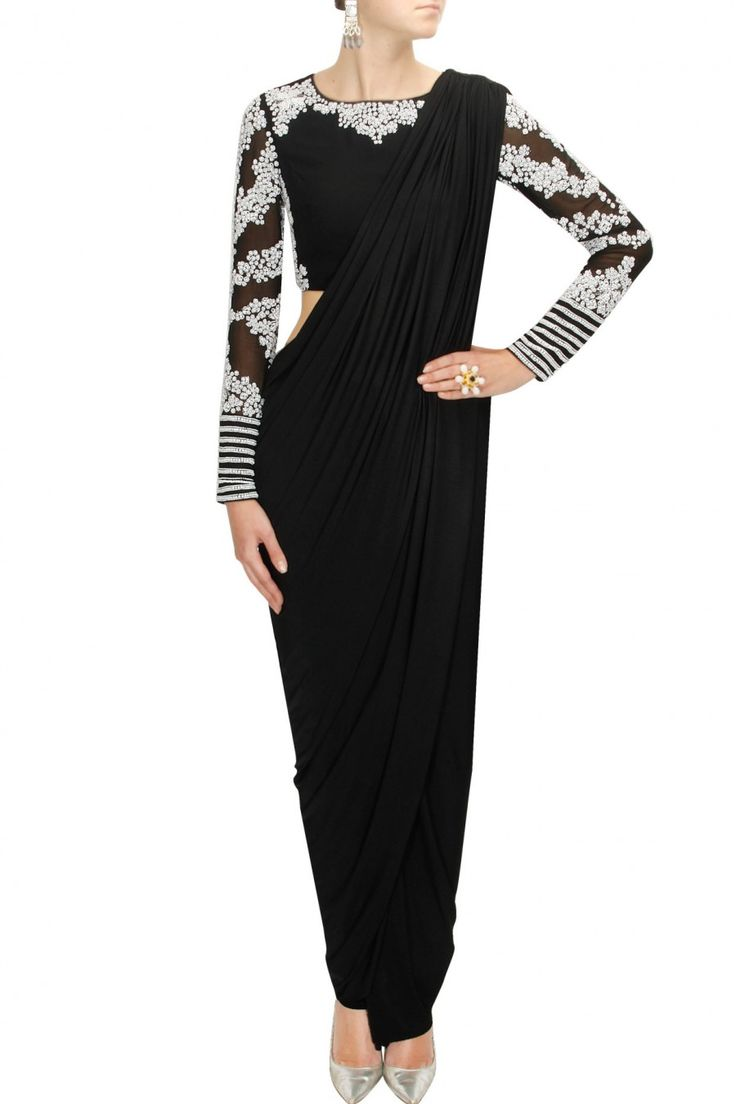 BHAAVYA BHATNAGAR Black sari with embroidered blouse and pants available only at Pernia's Pop-Up Shop.
