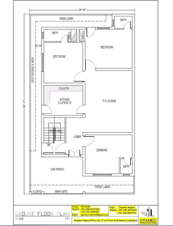 House Plan Drawing 35x60 Islamabad