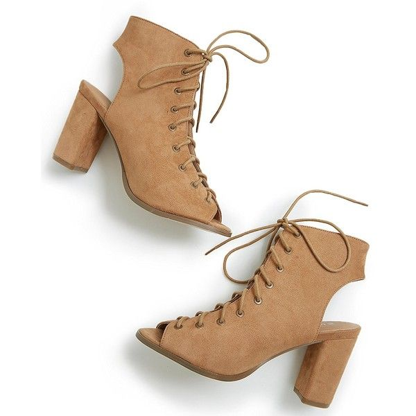 Free Reign Lace Up Open Toe Block Heel Booties (Wide Width) ❤ liked on Polyvore featuring shoes, boots, ankle booties, lace up bootie, wide ankle boots, short boots, open toe bootie and wide width boots