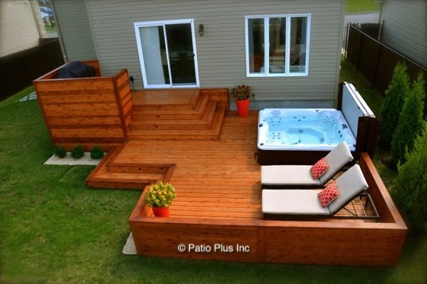 patio autour d 39 un spa terrasse am nagement cour. Black Bedroom Furniture Sets. Home Design Ideas