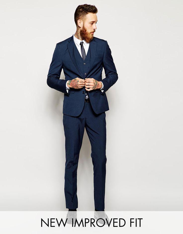 ASOS Slim Fit Suit Sharkskin Pindot