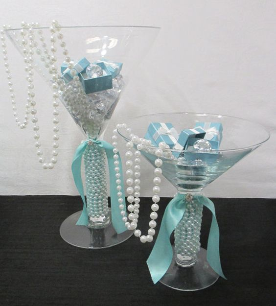 2 Large Martini Glasses Breakfast at Tiffany's Themed Bridal Shower Centerpiece, Card Table Decoration, Tiffany Collection):