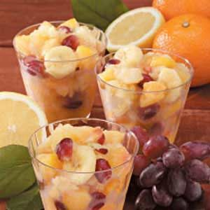 my latest craving...frozen fruit slush.  Except I only use one cup of sugar, 1 can each lemonade/orange juice concentrate, and for fruit I like crushed pineapple, mandarin oranges, chopped canned peaches, and strawberries.