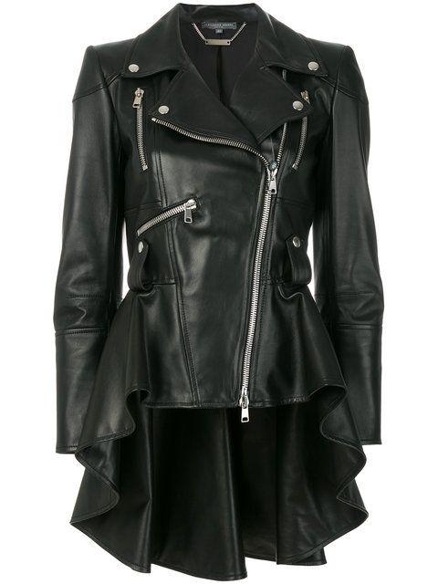 Shop Alexander McQueen peplum waist biker jacket