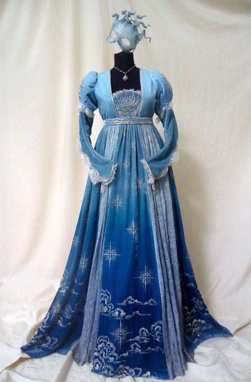 Juliet- I love the design on the dress and the different shades of blue it is,