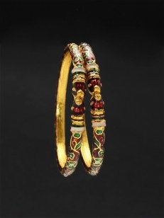 Red enamel bangles with floral design
