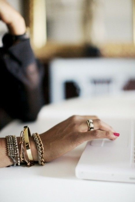 bangles. absolute arm party perfection plus a great way to pump up your outfit and still look professional.