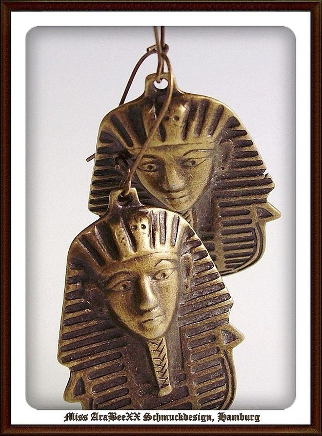 Ägyptischer Schmuck - Ägyptische Tutanchamun Ohrringe~Antik-Bronze Look - ein Designerstück von Miss-AraBeeXX bei DaWanda