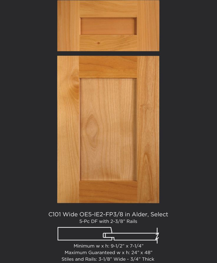 Wide frame gives this shaker style door in Alder a more modern look - by TaylorCraft Cabinet Door Company