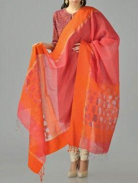 Orange-Pink Jamdani Cotton Silk Dupatta