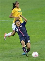【サッカー女子】 ブラジル戦速報(3)日本、大儀見が先制弾