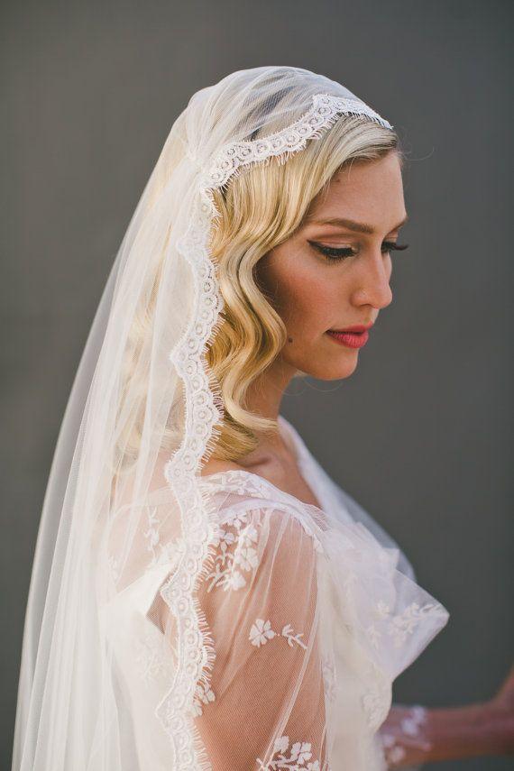 Cap Veil, Eyelash Fringe Lace Juliet Cap Wedding Veil, Single Layer Mantilla Veil, Fingertip Length Veil, Waltz Lace Veil, Long Veil  #1552