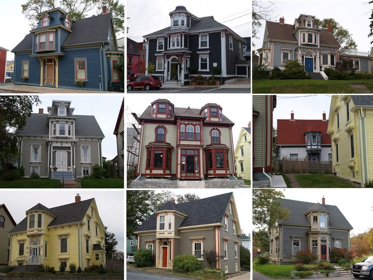 Victorian Era Houses In Lunenburg Nova Scotia Displaying The Once Fashionable Bump Style Of Extended Dormer