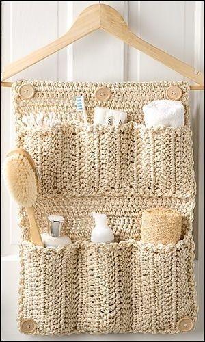 DIY Crochet Bathroom Organizer