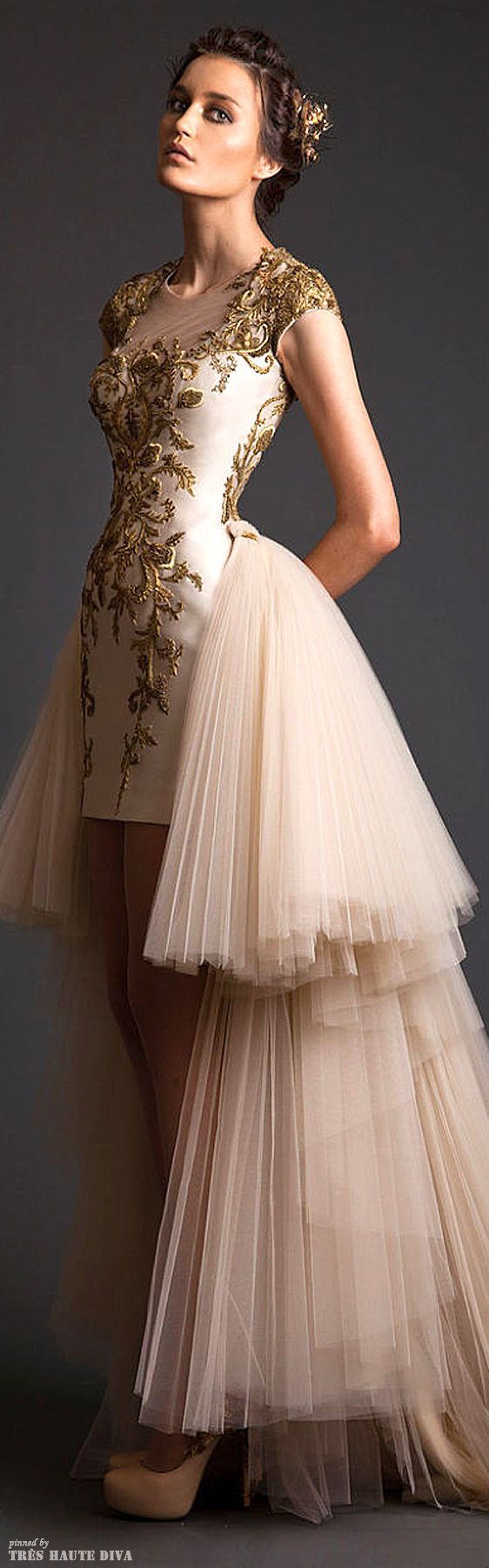Love the gold and the fit! But not the skirt.  Krikor Jabotian Couture S/S 2014 Brocade Dress