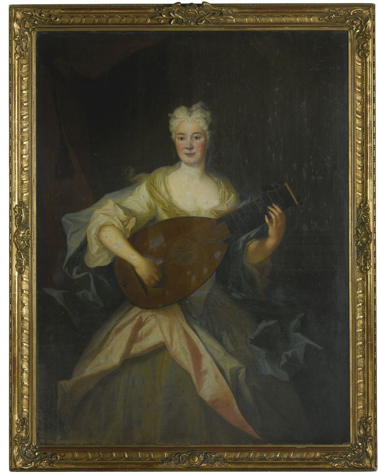 LOUIS DE SILVESTRE PORTRAIT OF ANNA CONSTANZE, COUNTESS OF COSEL (1680 – 1765), THREE-QUARTER LENGTH, DRESSED IN GREEN AND PINK SILKS AND PLAYING A LUTE. -- Sotheby's