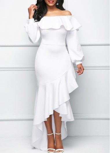 Lantern Sleeve Asymmetric Ruffle Hem White Dress on sale only US$35.52 now, buy cheap Lantern Sleeve Asymmetric Ruffle Hem White Dress at Rosewe.com