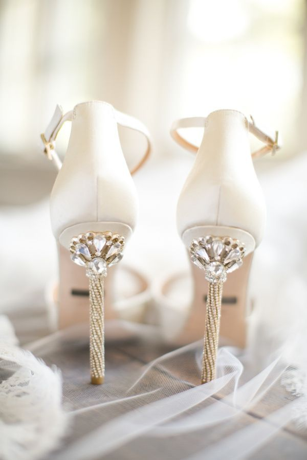 White and Gold Jeweled Wedding Shoes | Brianna Wilbur Photography - http://heyweddinglady.com/whimsical-glam-wedding-inspired-hayley-paige