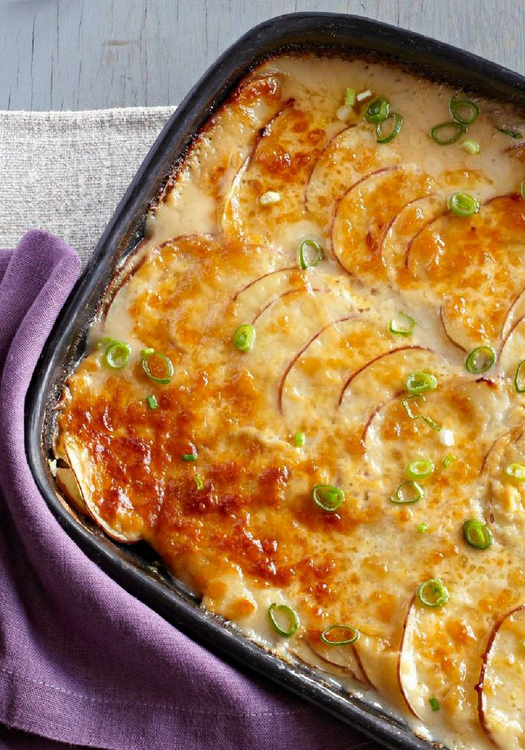 Creamy Scalloped Potatoes Recipe ~ Cream cheese is the secret ingredient that gets you to an easy no-fail scalloped potatoes packed with flavor!
