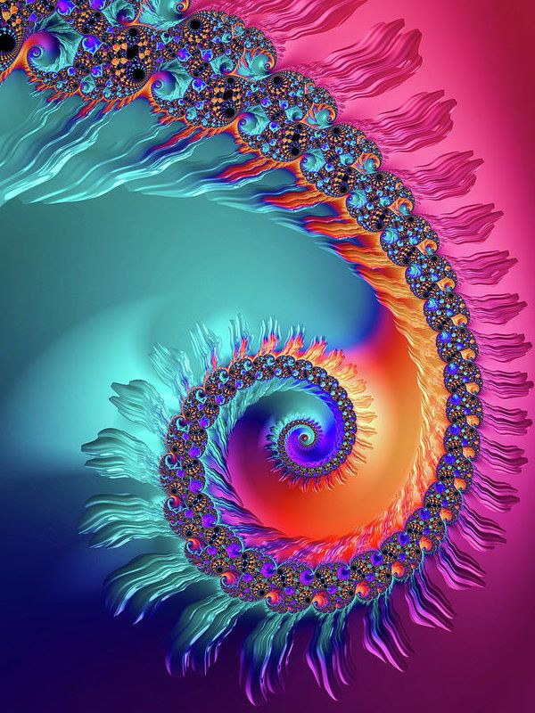 Beautiful colored fractal spiral, turquoise, pink, purple, blue and orange tones, vibrant and colorful eyecatcher for every room. All prints are professionally printed, packaged, and shipped within 3 - 4 business days. Choose from multiple sizes and hundreds of frame and mat options. Available as poster, framed fine art print, metal, acrylic or canvas print. (c) Fractal Art Prints by Matthias Hauser fractal-art-prints.com - Fractals for your Home Decor and Interior Design needs.