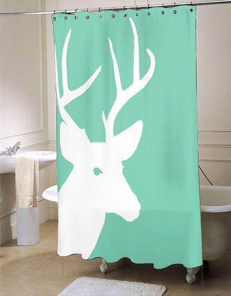 Deer Shower Curtain Lucite Green #showercurtain #showercurtains #curtains  #bath #bathroom #