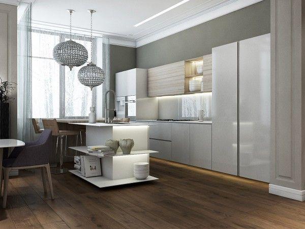 Modern Island Kitchen Open Shelving