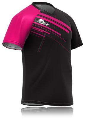 Pink sleeve rugby shirt design. High quality bespoke rugby shirts designed by Samurai Sportswear. www.samurai-sports.com