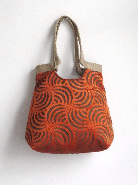Swirly Orange carpet high quality large tapestry hobo bag with