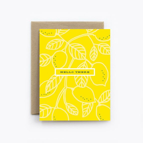 Just Because Get Well Sympathy  Lemon Hello  by TheDetroitCardCo