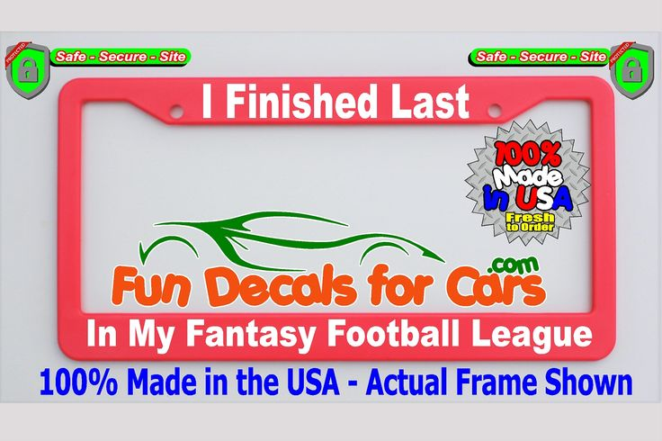 Finished Last Fantasy Football League License Plate Frame Pink